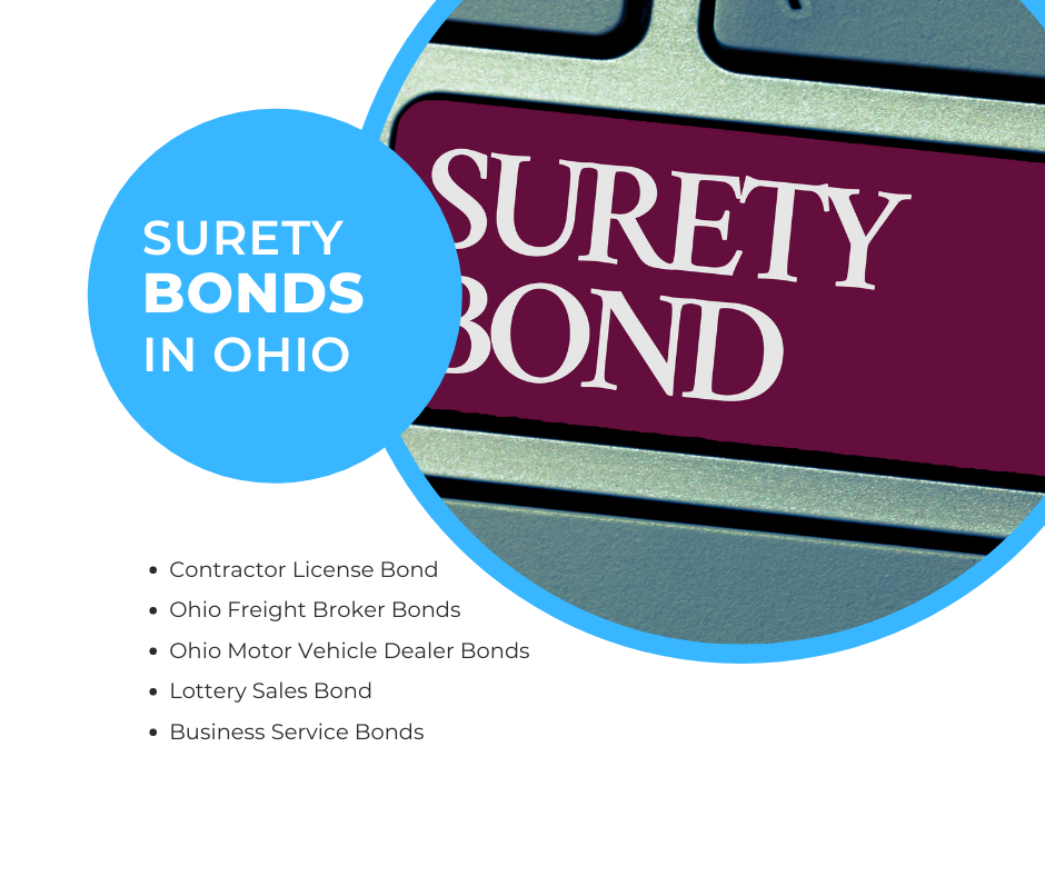 Surety Bonds in Ohio - What is a Contractor License Bond in Ohio - Surety Bonds in Blue and White Background