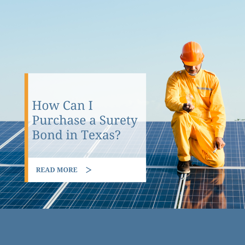 Surety Bond in Texas - How Can I Purchase a Surety Bond in Texas - Contractor Fixing a Solar Panel Board Blue Backgrounf