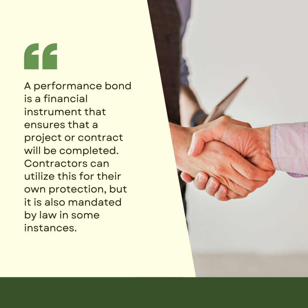 Performance Bonds in Texas - How Can I Purchase a Performance Bond in Texas? Posted on September 27, 2021 by BondWriter performance-bond In Texas, how do I obtain a performance bond - two men shaking hands in white and green background