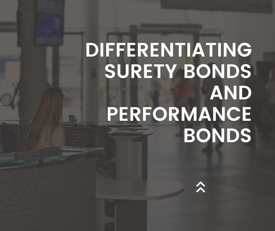 Performance Bonds - What is the definition of a surety bond - title of article in black background and fading image
