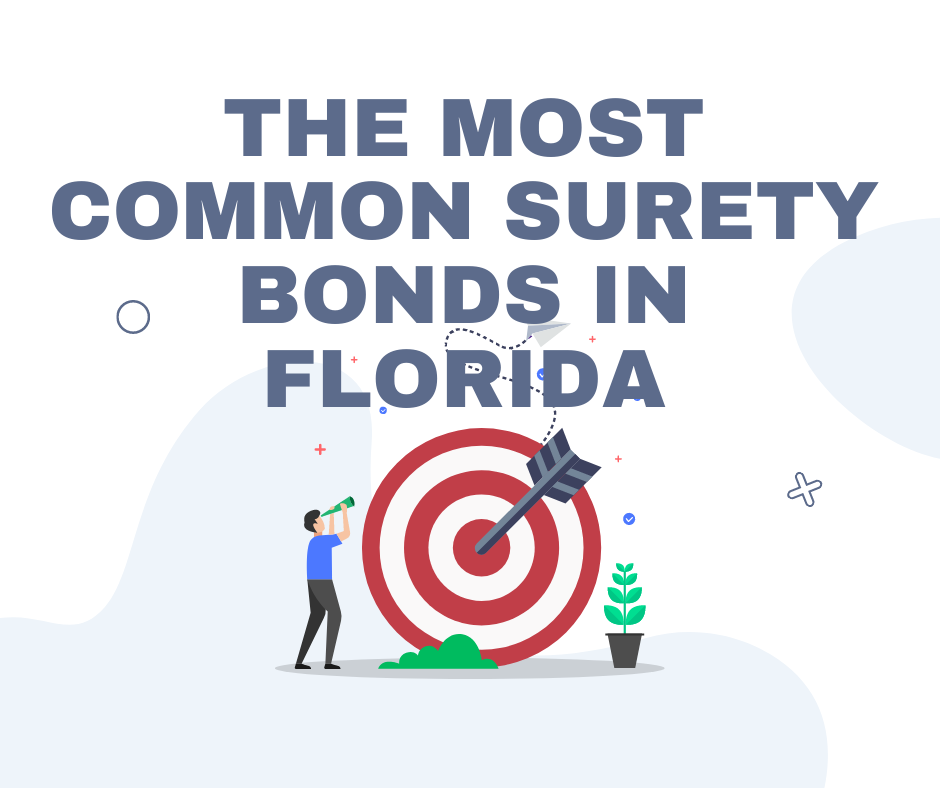 Florida Surety Bonds - What are the Most Common Surety Bonds in Florida? Posted on September 27, 2021 by BondWriter What is a Surety Bond for a Florida Contractor's License - Arrow and Man in White Background