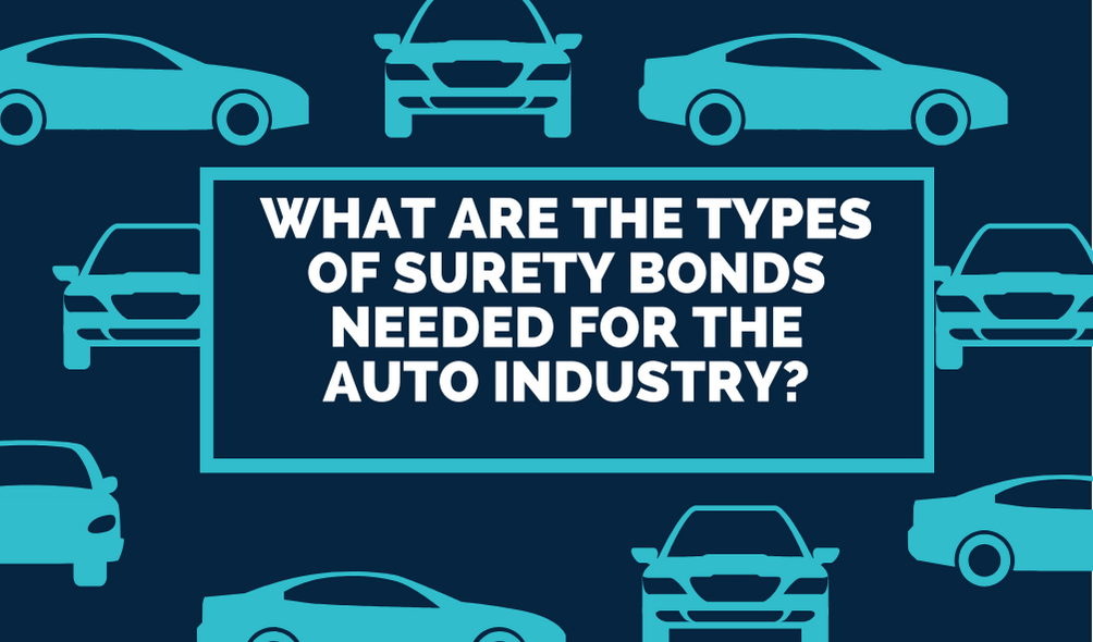 Types of Surety Bonds Needed for the Auto Industry - How Do Surety Bonds Protect Customers in the Automotive Industry - animated cars in blue background