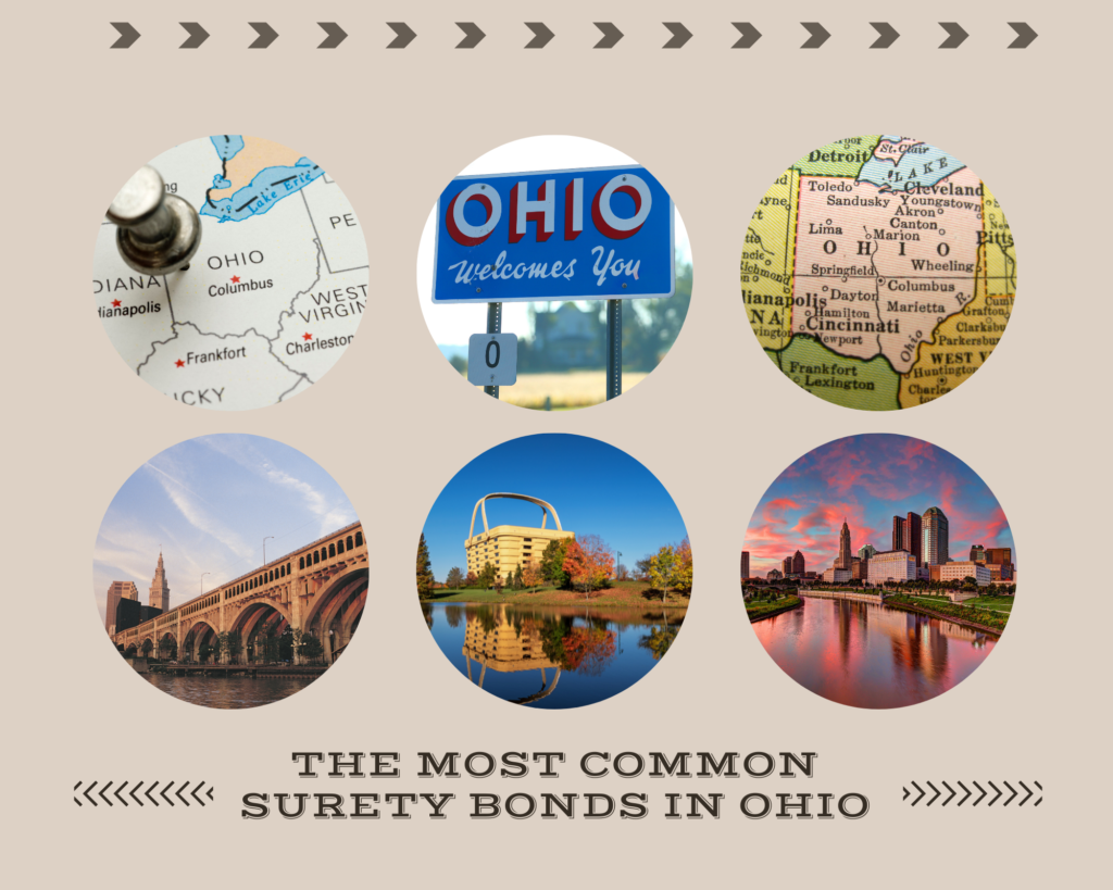 Surety Bonds in Ohio - What are Ohio Contractor License Bonds? - Landmarks and map of ohio in circle frames brown background