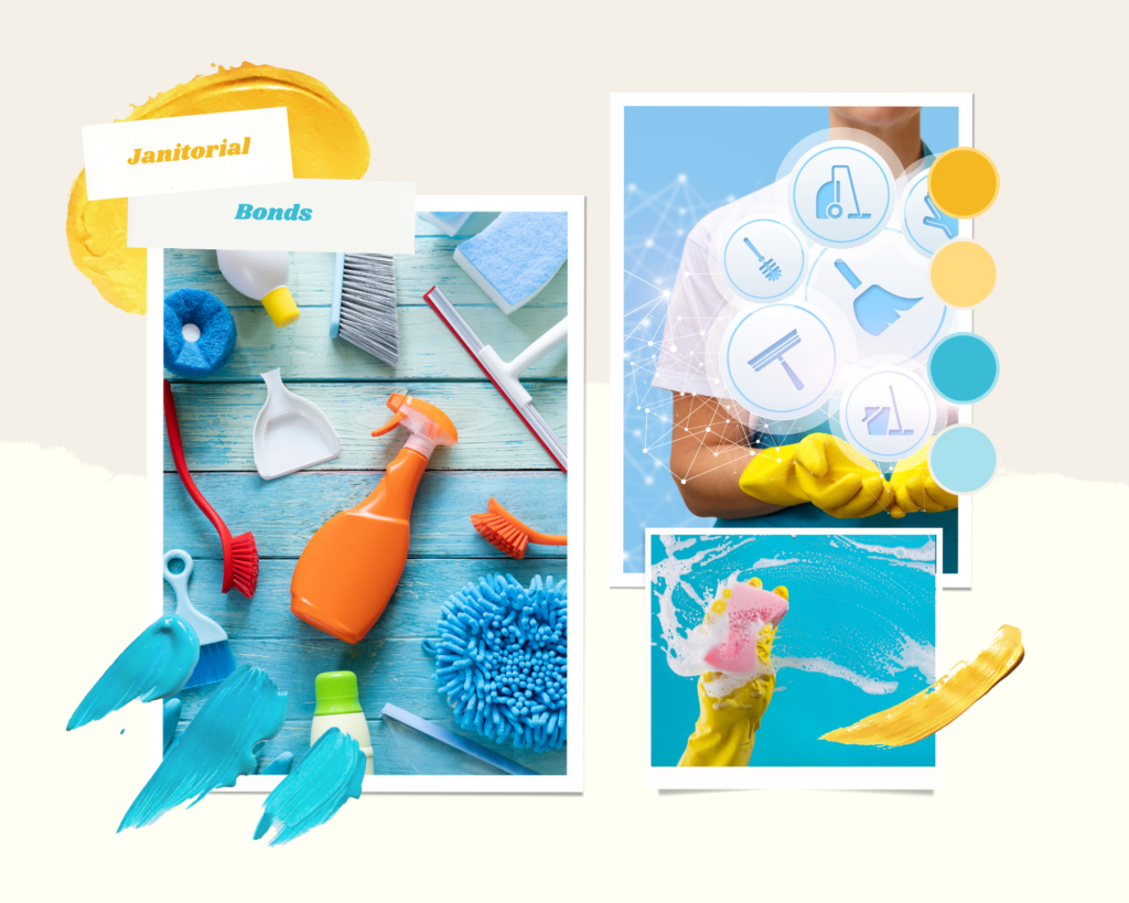 janitorial surety bonds - What are janitorial bonds - cleaning services and materials in blue background