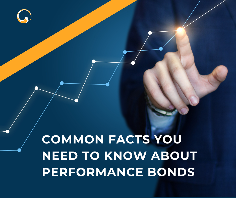 performance bonds - how much does a performance bond cost - hands pointing to a chart in blue background