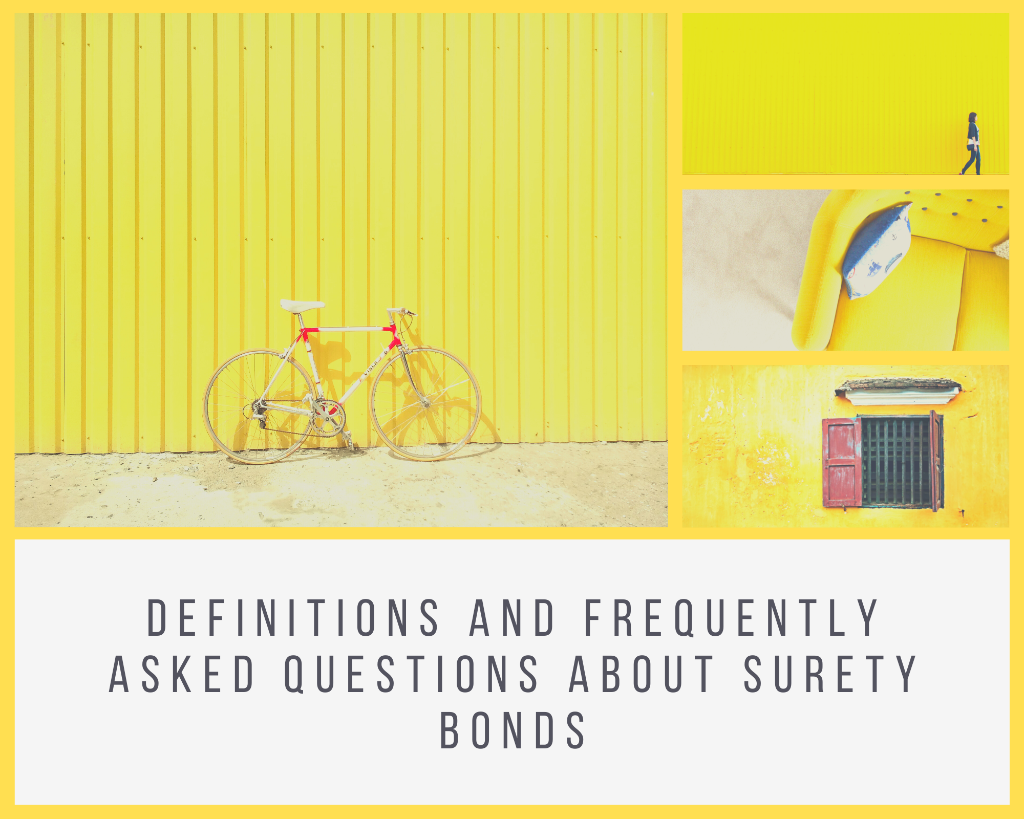 surety bonds - what is the definition of a surety bond - bike and books in yellow background