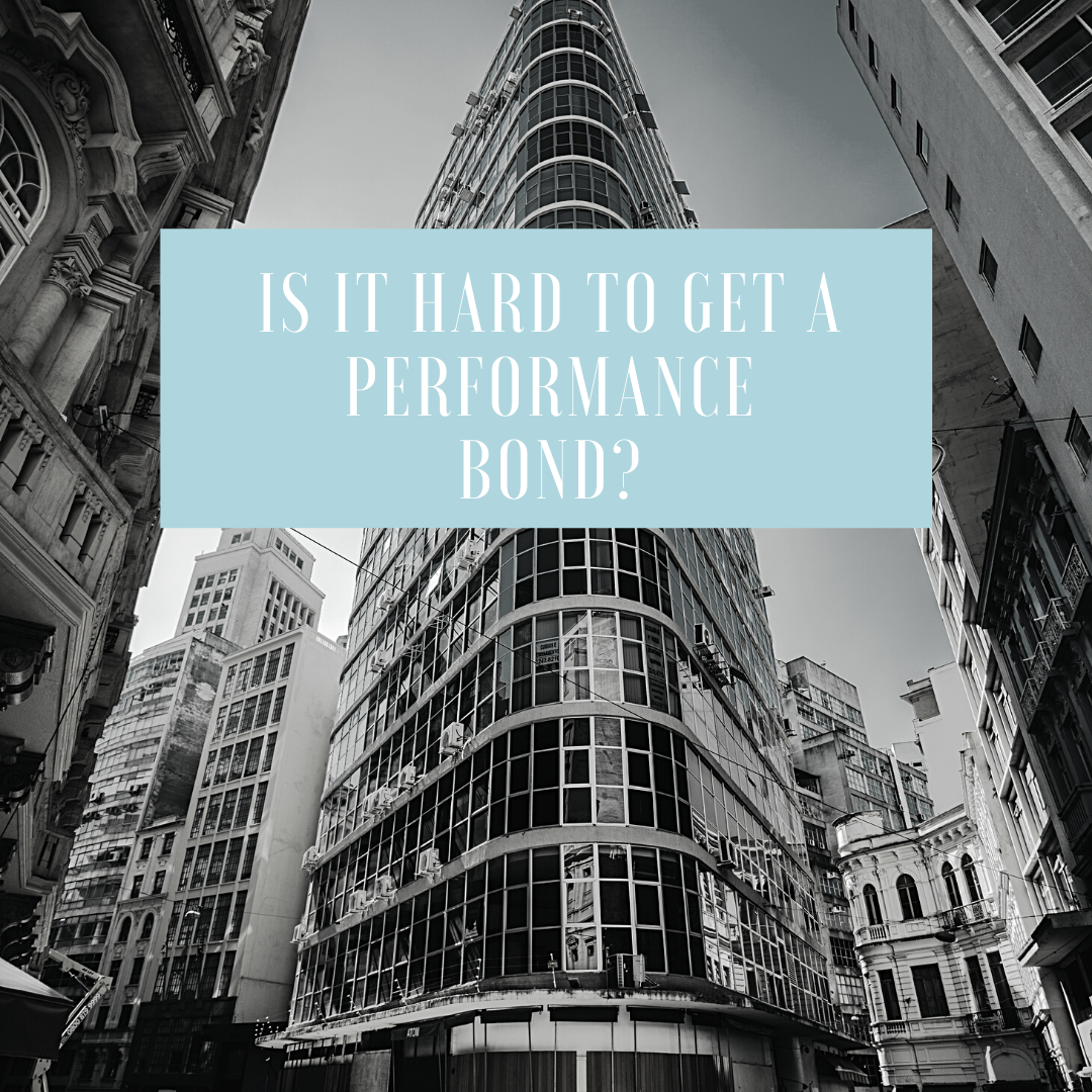 performance bond - how fast can I get a performance bond - buildings in black and white and blue text box