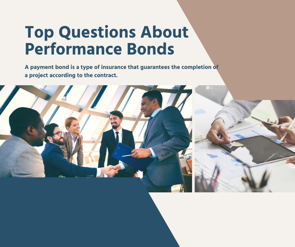 Performance Bonds - What is a Payment bond - men transacting in blue and white background