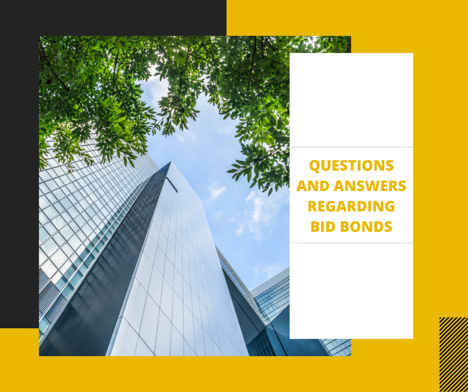 bid bond - what is the cost of a bid bond - tall building in yellow background