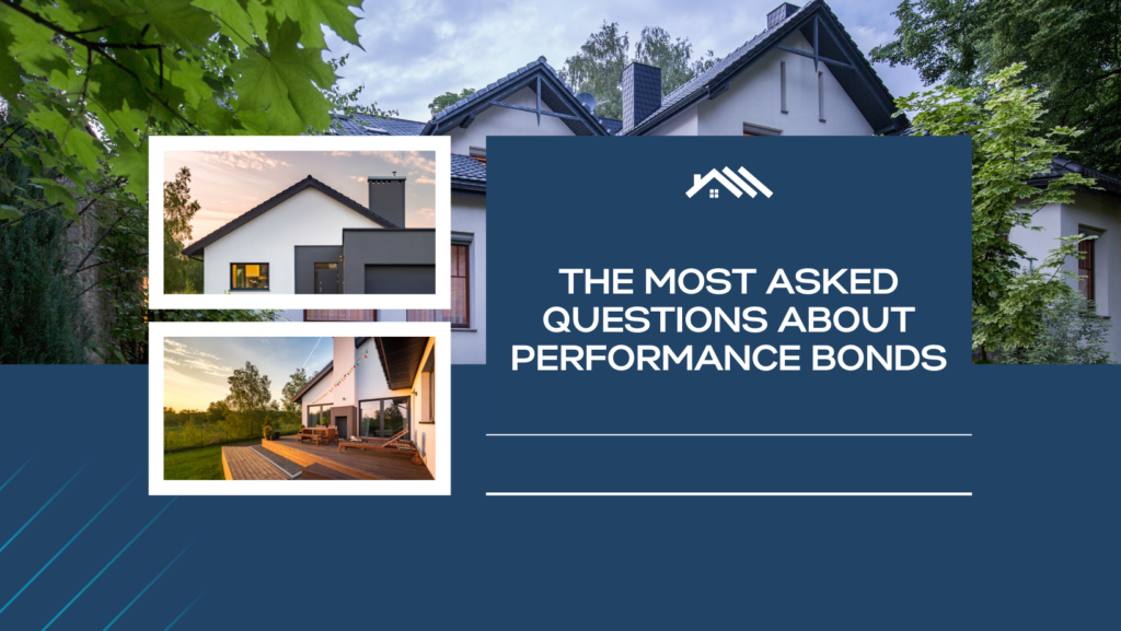 performance bond - what is the meaning of performance bond - modern house in blue background